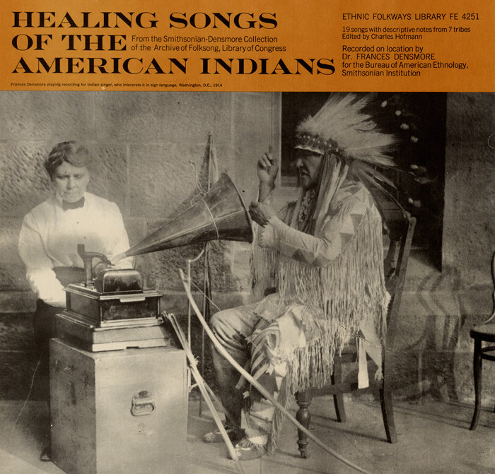 A 1965 album cover featuring anthropologist Frances Densmore and Mountain Chief (Ninastoko), chief of the Blackfoot people.