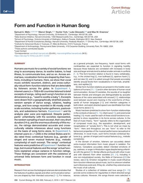 Form and function in human song