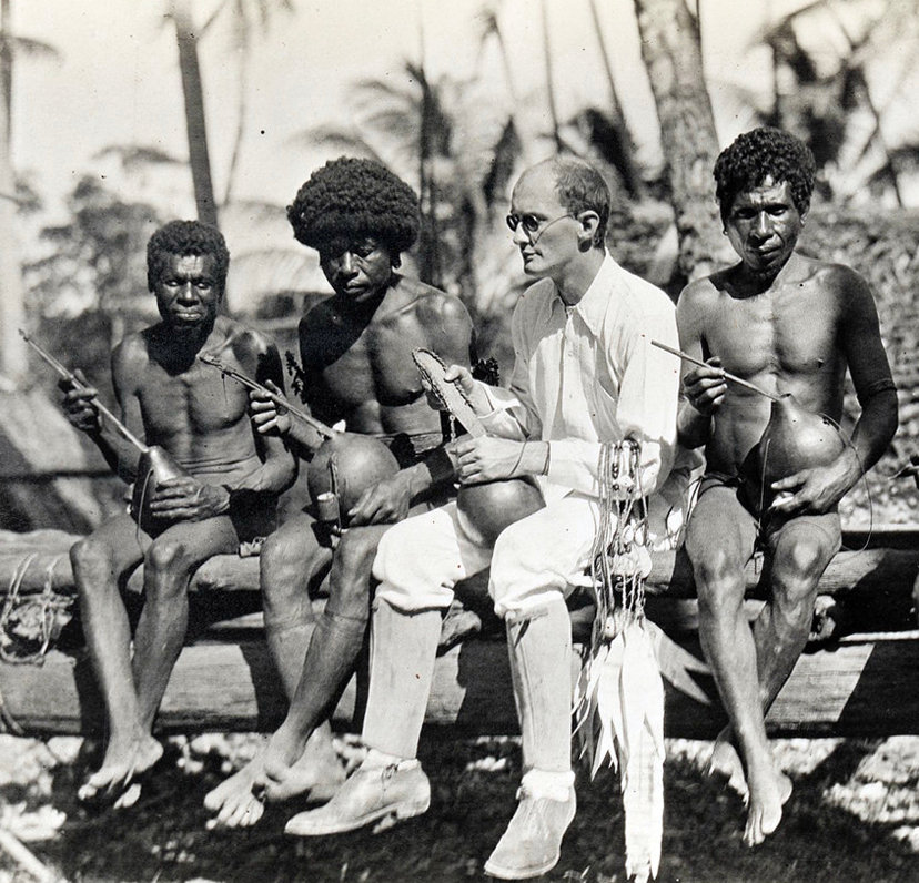 Anthropologist Bronislaw Malinowski conducting fieldwork in the Trobriand Islands in 1918